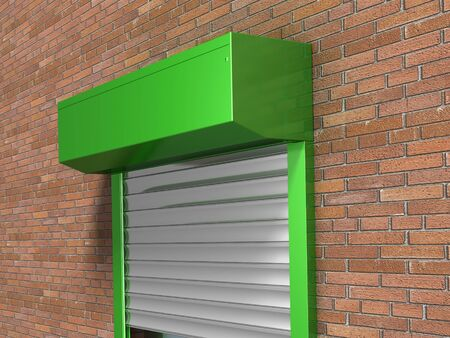 Window with rolling shutters system on the bricks wall Stock Photo
