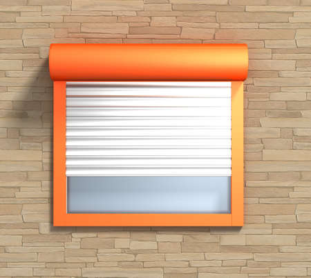 Window with rolling shutters system on the bricks wall Stock Photo - 11004677