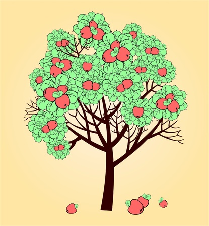 Vector stylized drawing of apple tree with ripe fruits Vector