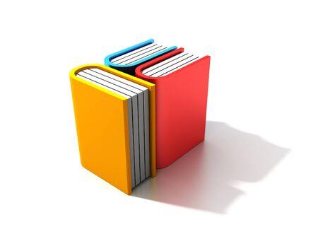 libro caricatura: Tres libros sobre fondo blanco Foto de archivo