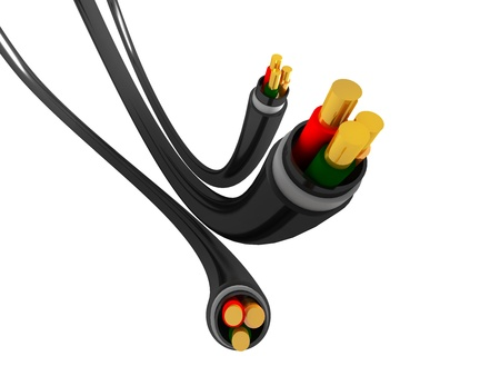 Three power cables on white background
