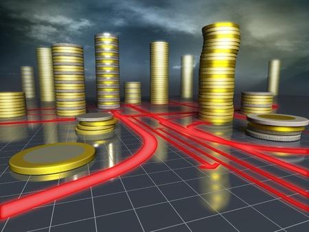 コインの高層ビル都市の 3 d イメージ