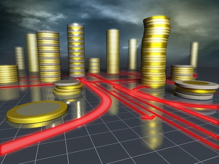 projections: 3d image of skyscrapers city made up of coins Stock Photo