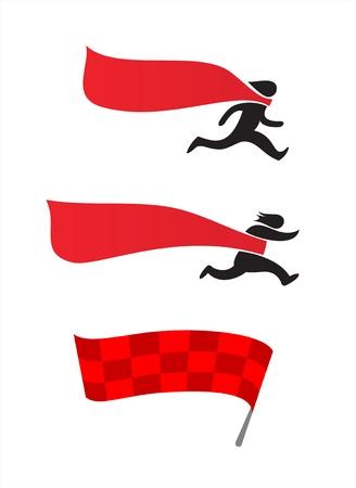 スポーツ シンボル - 男はフィニッシュ ラインで実行