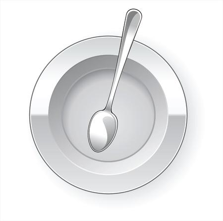 空のディナー皿とスプーン  イラスト・ベクター素材