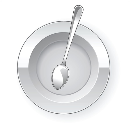 dinner plate: Empty dinner plate and spoon