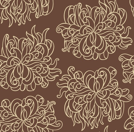 Seamless line with chrysanthemum flowers Vector