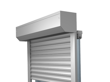 Window with roller shutter three dimensional render photo