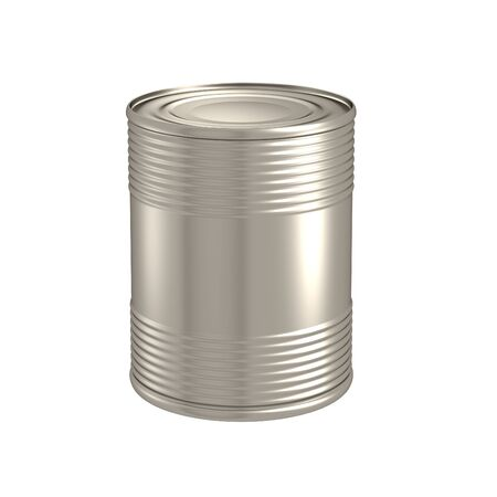 Tin with blank label Stock Photo