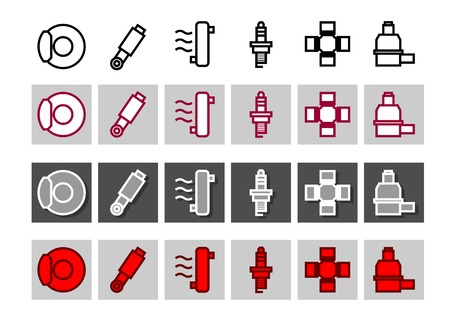 Car systems icon vector set in different color variationsÂŒ