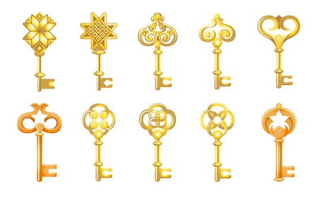 Vector keys set with decorative elements in retro style Ilustração