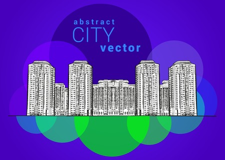 multistory: Architectural concept  Line drawing of multistory houses  Color background Illustration