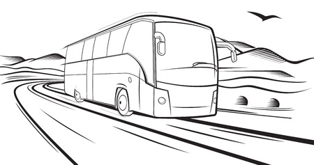 autobus: bus rides on the road Illustration