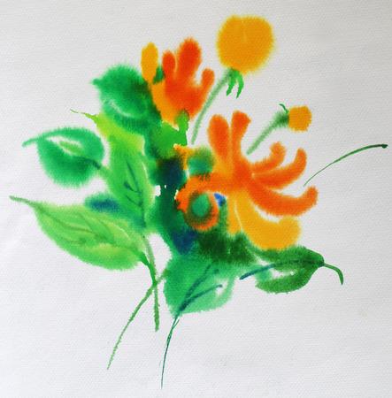 水彩花 写真素材