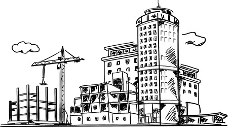 Line drawing of built and under construction buildings Illustration