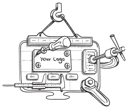 サイトの要素を持つ web デザインの概念ベクトル図