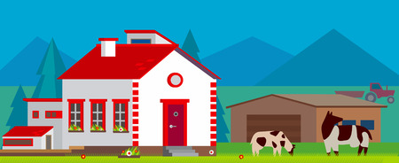 フラット スタイルの農場村の風景ベクトル イラスト
