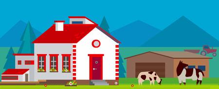 Farm village landscape vector illustration in flat style