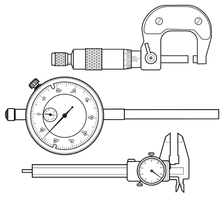 Professional measuring instrument line vector drawing isolated