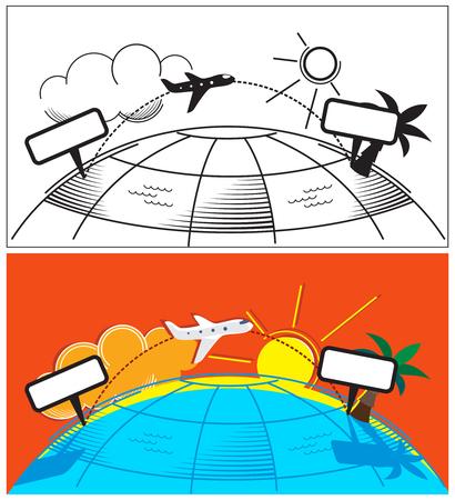 カード テンプレートの飛行機旅行の概念。ベクトルの図。