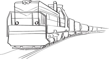 Goederentrein met locomotief vector schets in zwarte lijnen