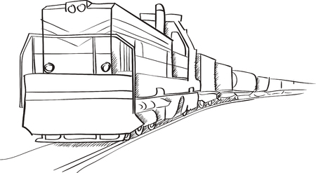 Freight train with locomotive vector sketch in black lines