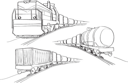 Freight train vector sketches in black lines