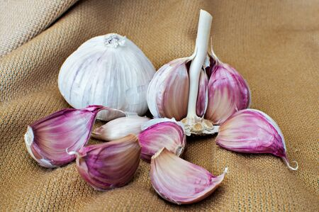 Set of garlic on fabric background photo