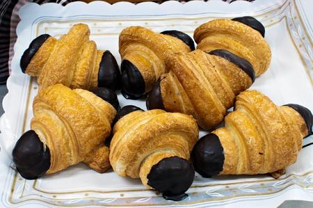 spelled: Spelled croissants freshly baked chocolate Stock Photo