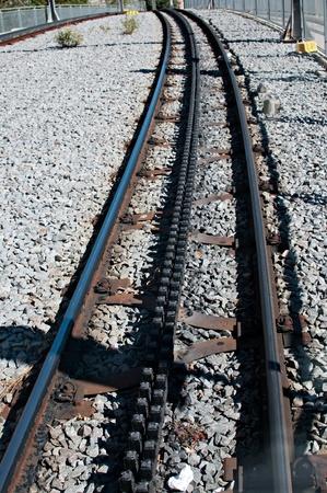 Detail of a cog railway rail