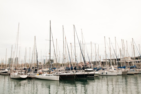 anchoring: Several boats resting in the harbor