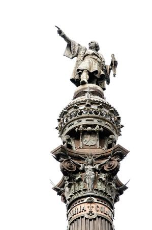 colonizer: Statue of Christopher Columbus in Barcelona Stock Photo