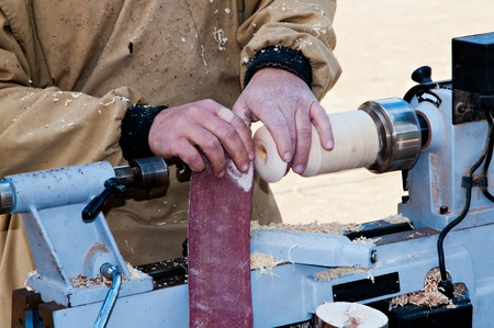 Carpenter working on traditional fair Stock Photo - 16556008
