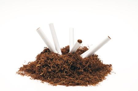 tabaco: Detalle de la tuber�a de tabaco y varios cigarrillos Foto de archivo