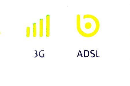 Symbols 3g and adsl in yellow photo