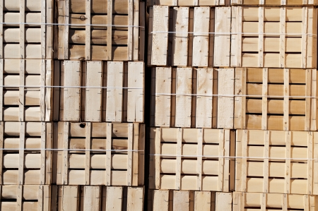 Wooden boxes stacked ready for use photo