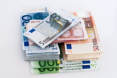 amounts: Several different euro banknotes amounts Stock Photo
