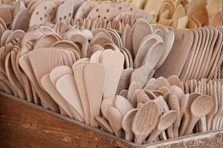 Detail of a handmade utensils made of wood        photo