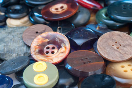 Assortment of various buttons for clothes photo