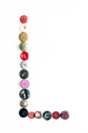 Serie of letters of the alphabet formed by buttons photo