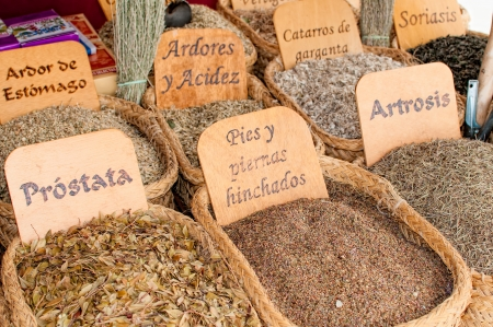 Herbs medicinal in a traditional market