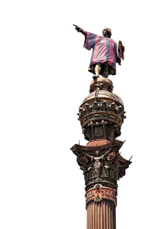 colonizer: Statue of Christopher Columbus with the shirt of Football Club Barcelona Editorial