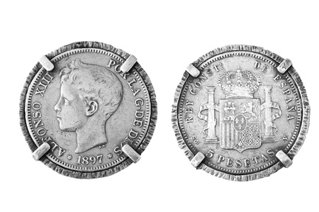 Old Spanish silver coin 1897 photo