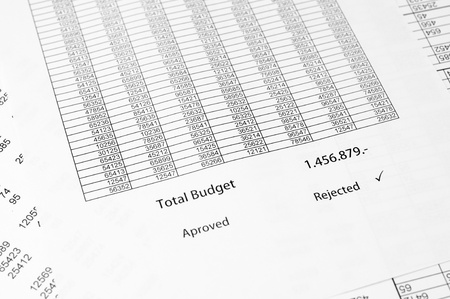 rejected: Detail of an rejected budget document