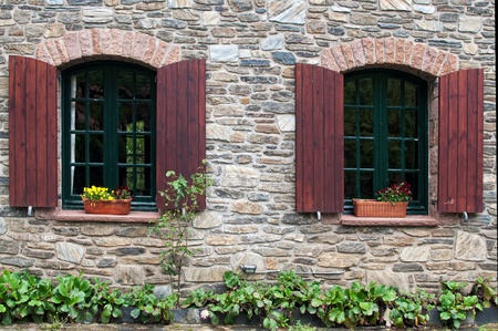 Windows in a mountain hotel Stock Photo - 21025681