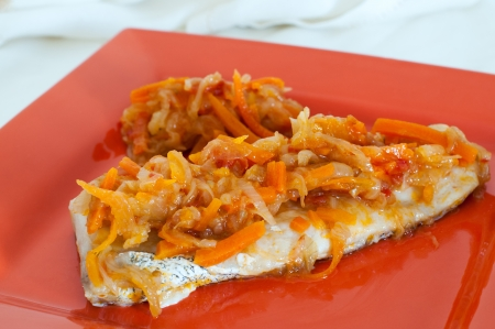 hake: Hake dish with sauteed vegetables