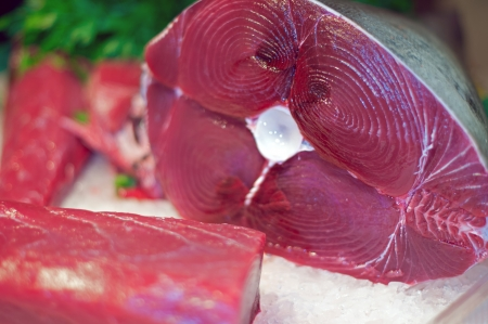 ahi: Fresh tuna prepared for sale in a market Stock Photo