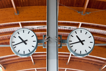 Two clocks at a train station photo