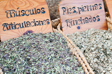 Detail herbs medicinal in a traditional market photo