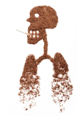 killing cancer: human figure formed by snuff Stock Photo